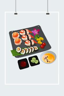 清新日式和风寿司美食插画