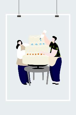 情侣一起做蛋糕手绘插画