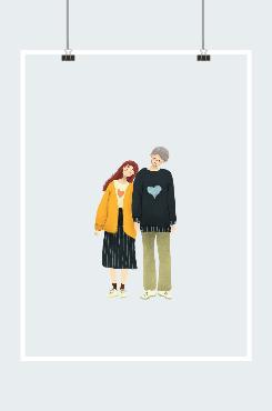 原创可爱歪头情侣手绘插画