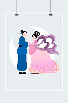古风卡通牛郎织女插画图片