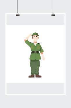 卡通手绘军人敬礼图片