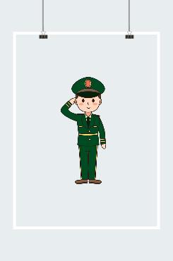 建军节军人形象卡通插画