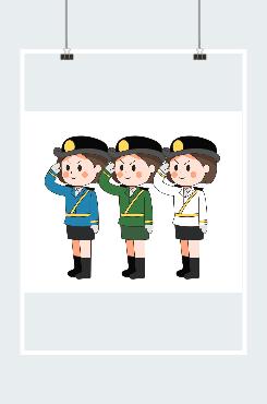 卡通原创海陆空女军人敬礼图片