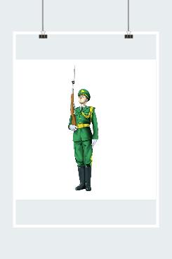 军人举枪站军姿图片