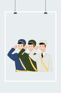 海陆空三军致敬创意卡通插画