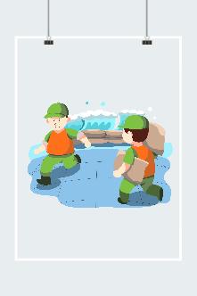 抗洪救援军人插画