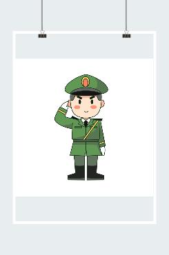 可爱军人形象插画素材