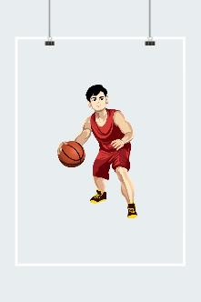打篮球男生插画