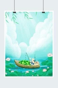 夏季荷花手绘风促销宣传海报