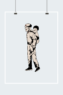 建军节线描解放军背孩子插画
