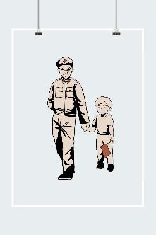 建军节军人孩子手绘插画