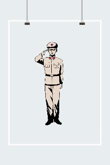 建军节线描敬礼军人图片