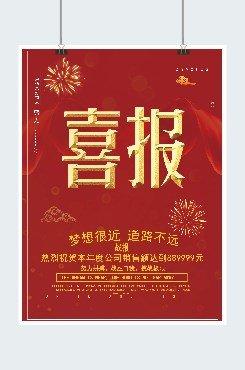 红色喜庆公司喜报印刷海报