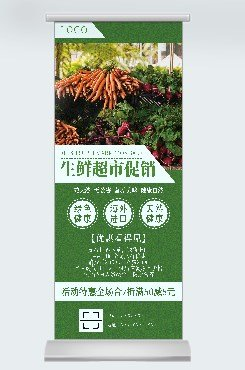绿色简约大气蔬果促销广告平面易拉宝