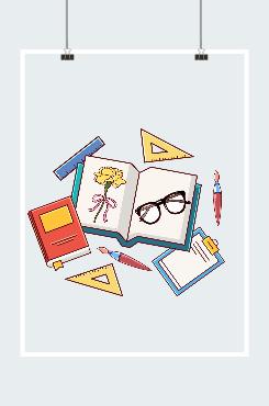 教师节康乃馨和文具组合插画