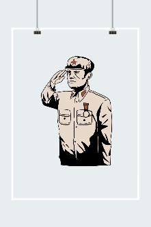 建军节线描老兵敬礼图片