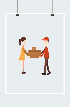 快递员包裹送到客户手中插画