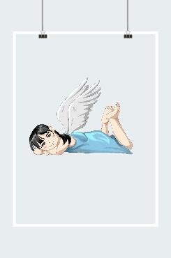 可爱小天使翅膀插画