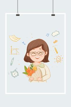 教师节鲜花礼物插画图片