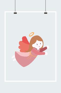 卡通小天使创意手绘插画