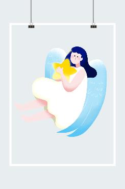蓝色翅膀小天使手绘插画