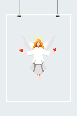 白色天使翅膀插画图片