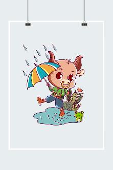 卡通可爱牛牛雨天打伞图片