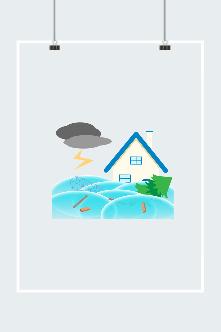 暴雨天气插画