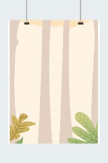 秋天树木草坪背景