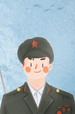 八一建军节手绘军人图片