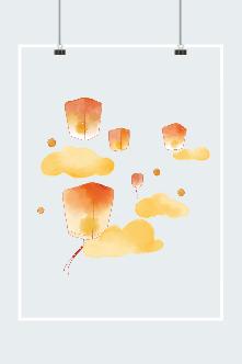 中秋孔明灯插画图片