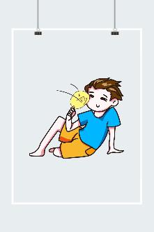 扇扇子的男孩插画图片