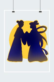 七夕节元素设计插画
