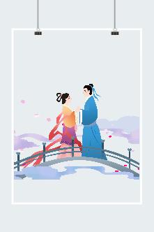 七夕节插画设计