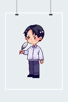 夏天流汗扇扇子的小男孩卡通图片