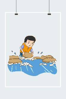 卡通抗洪战士插画