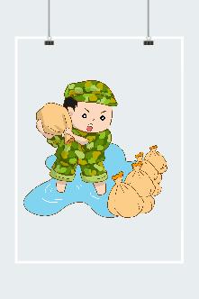 抗洪战士人物插画