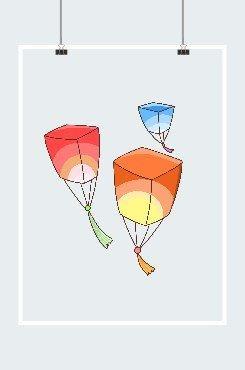 三色孔明灯插画