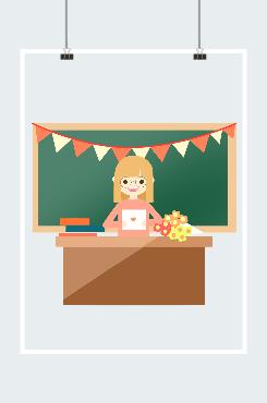扁平化教师节人物插画