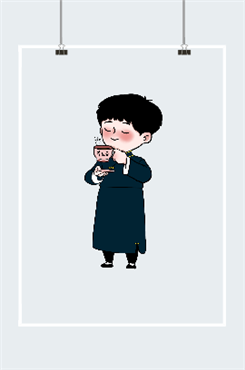 喝养生茶的小男孩插画