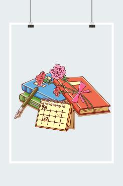 教师节书本鲜花装饰插画