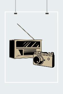 建军节线描复古收音机