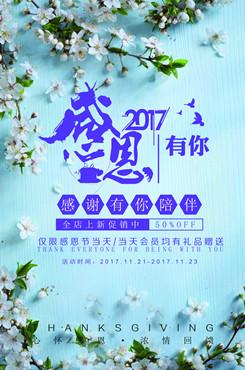 清新简约感恩节限时促销海报