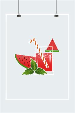 清爽西瓜汁插画