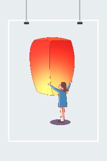 女孩放飞孔明灯