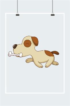 可爱的小动物吃骨头的小狗