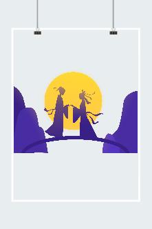 鵲橋相會七夕情人節元素圖片
