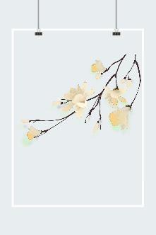 古风黄色梅花手绘插画配图