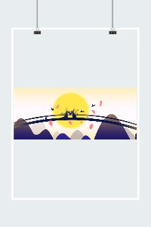 七夕鹊桥相会插画素材