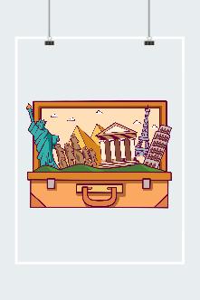 卡通城市旅行